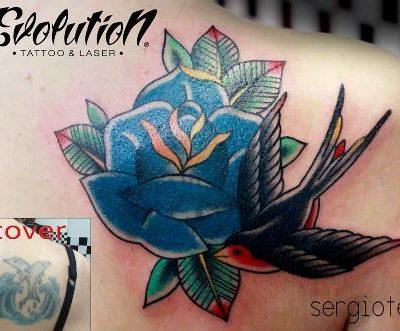 tatuaje rosa azul con pajaro evolution tattoo tatuajes rosas y sus significados