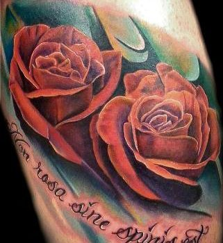 tatuaje de dos rosas rojas y su significado, rosas a color evolution tattoo